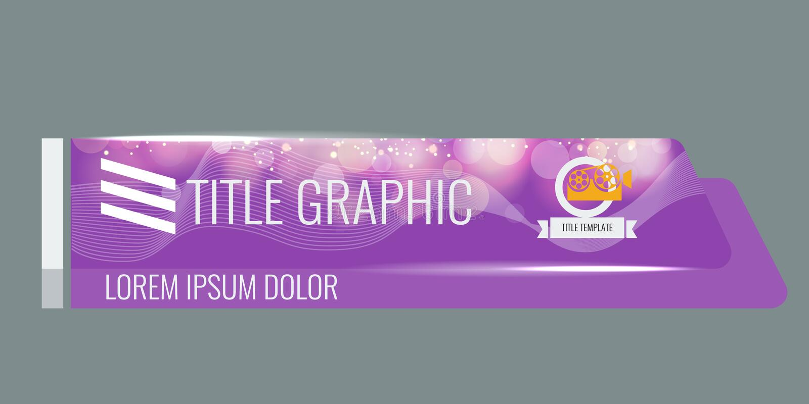 Video headline title or lower third template with flow and bokeh lights effect. Unique banner design for video. Purple. Video headline title or lower third royalty free illustration