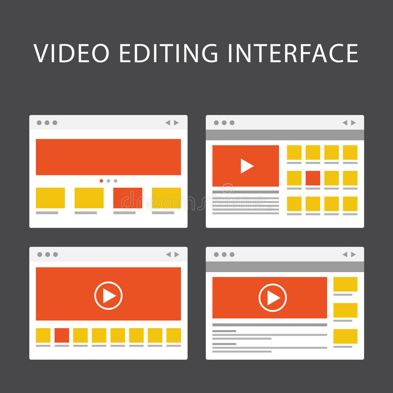 Video het uitgeven softwareinterface - media productiesoftware vector illustratie