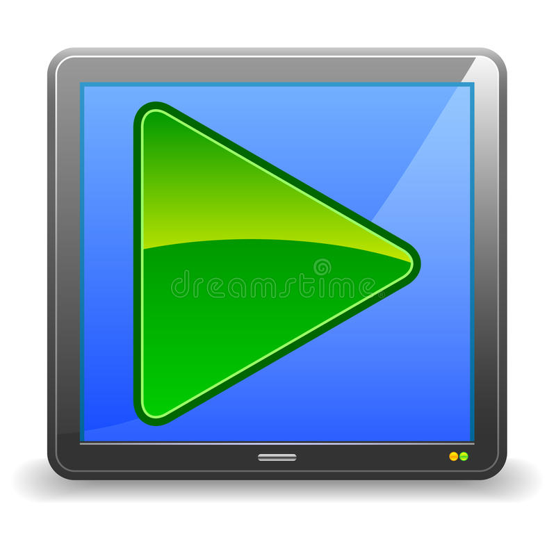 Video Icon. An illustration of a video player icon or button. Shadow placed on separate layer for ease of use