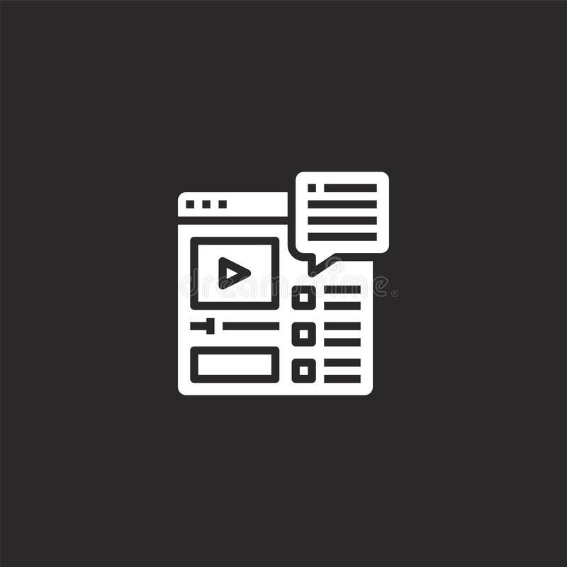 Video icon. Filled video icon for website design and mobile, app development. video icon from filled seo collection isolated on. Black background vector illustration