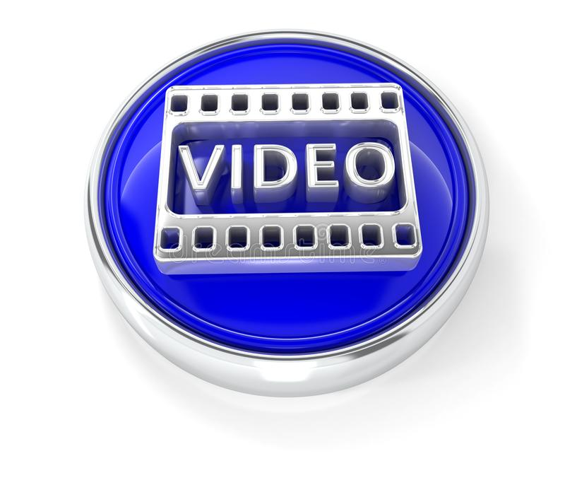 Video icon on glossy blue round button stock illustration