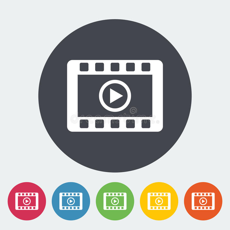 Video icon. Video. Single flat icon on the circle. Vector illustration royalty free illustration