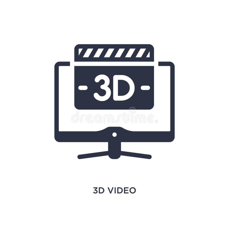 video icona 3d su fondo bianco Illustrazione semplice dell'elemento dal concetto del cinema royalty illustrazione gratis