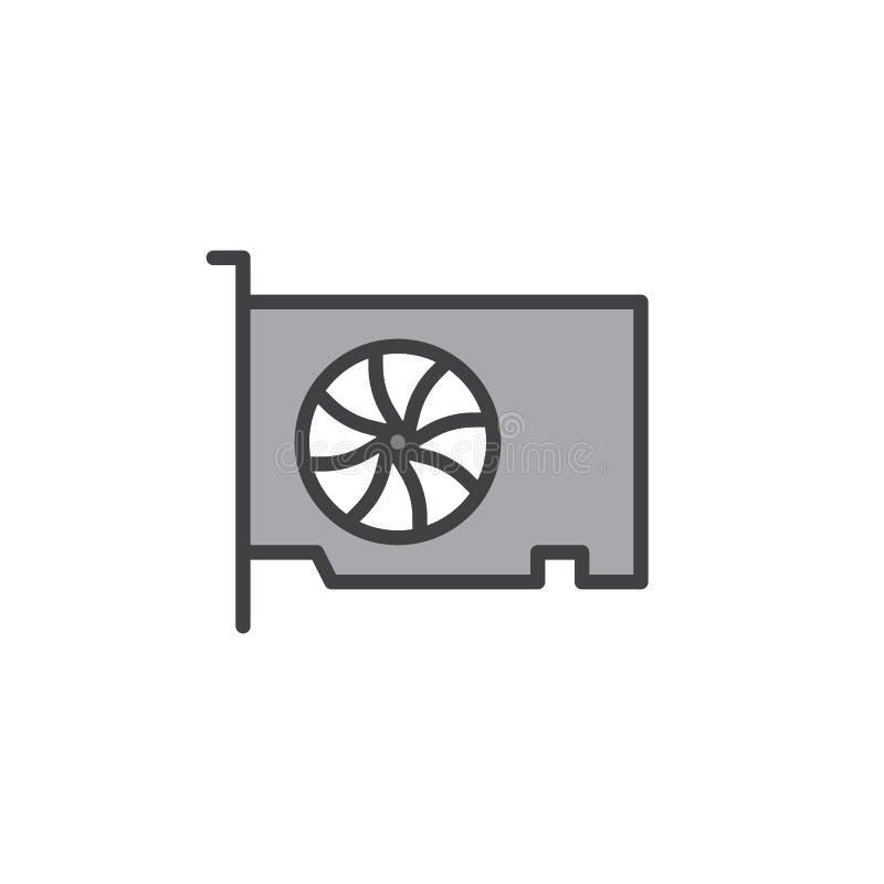 Video icona del profilo riempita di gpu carta illustrazione di stock