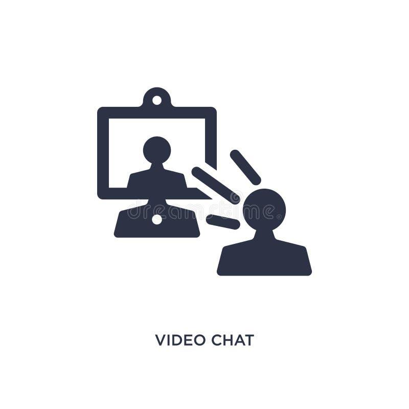Video icona di chiacchierata su fondo bianco Illustrazione semplice dell'elemento dal concetto di comunicazione illustrazione di stock