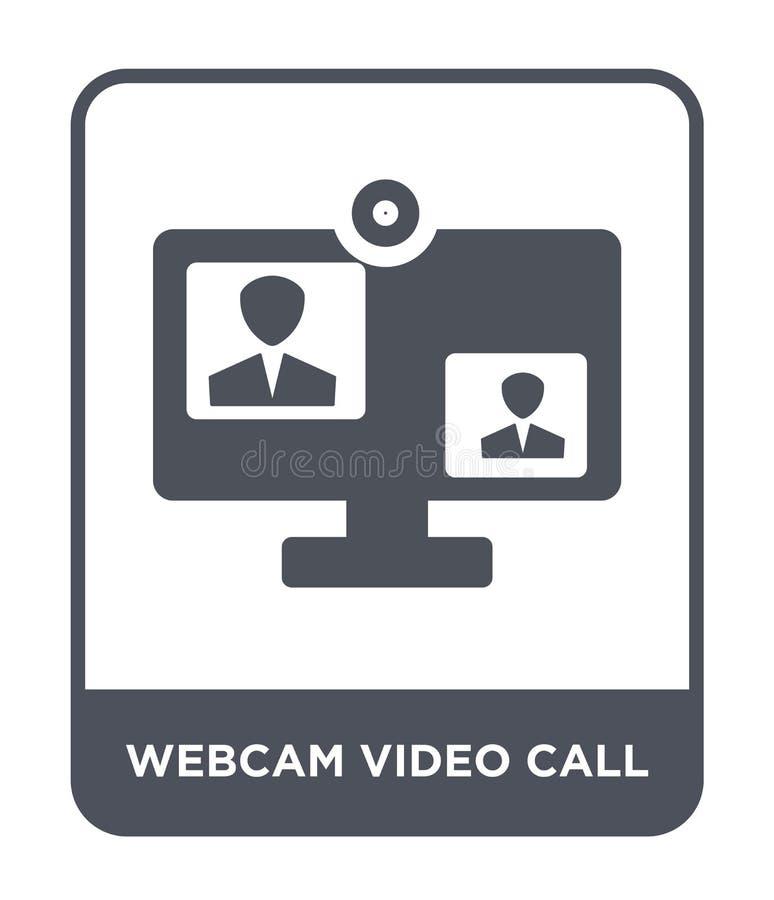 video icona di chiamata del webcam nello stile d'avanguardia di progettazione video icona di chiamata del webcam isolata su fondo royalty illustrazione gratis
