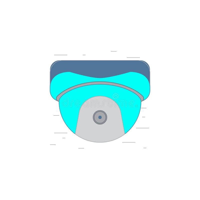 Video icona o illustrazione della videocamera di sicurezza nello stile del profilo illustrazione vettoriale