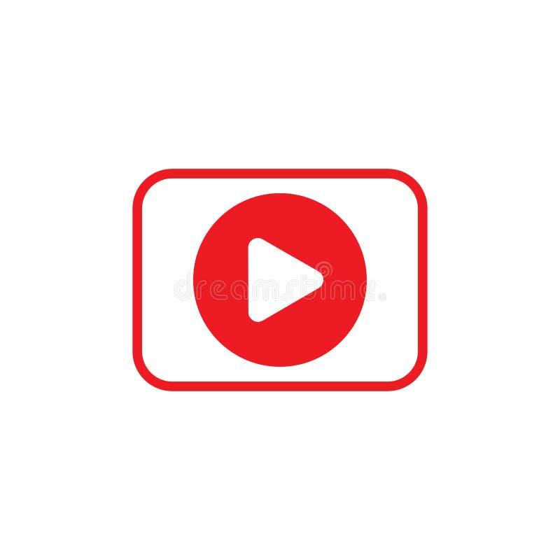 Video icona, stile piano di progettazione dell'illustrazione di riserva di vettore illustrazione grafica dell'icona del cinema illustrazione vettoriale