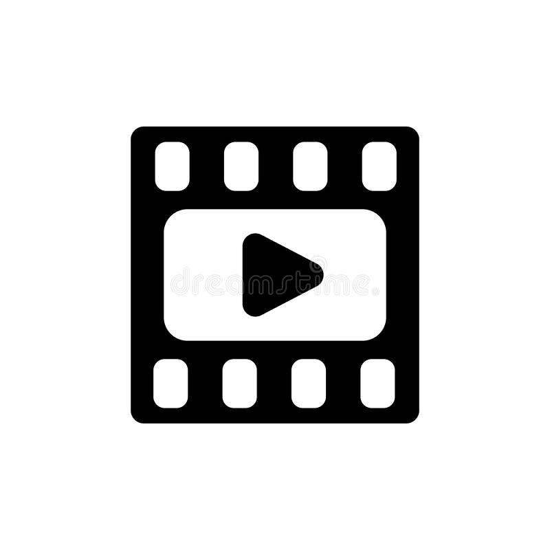 Video icona Struttura di film Icona di media o del film piana Tasto di riproduzione illustrazione vettoriale