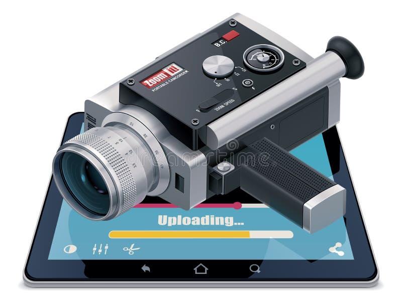 Video icona uploading illustrazione di stock