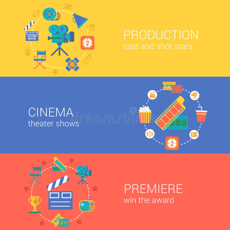 Video icone piane di progettazione del cinema di produzione di film messe illustrazione di stock