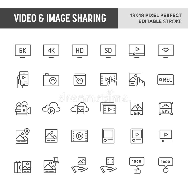 Video & Image Sharing Icon Set. 30 thin line icons associated with video & image sharing. Symbols such as audio-video device and pictures are included in this royalty free illustration