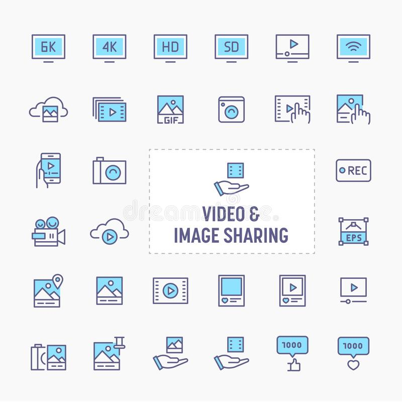 Video & Image Sharing Icon Set. Video & image sharing - thin line website, application & presentation icon. simple and minimal vector icon and illustration royalty free illustration