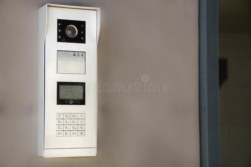 Video intercom display near the entrance door. the concept of security. royalty free stock photos