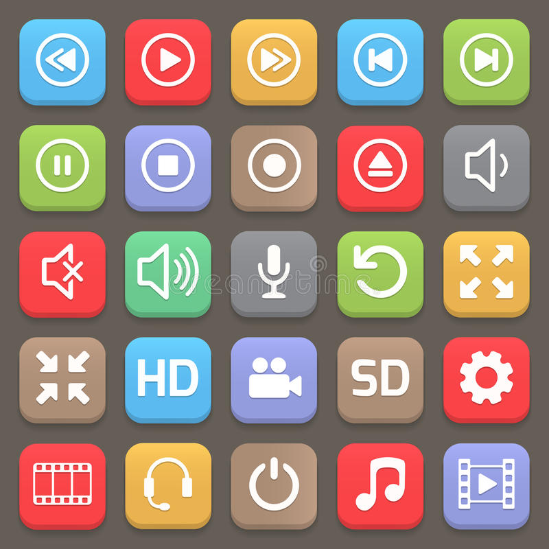 Video interface icon for web or mobile. Vector. Illustration royalty free illustration