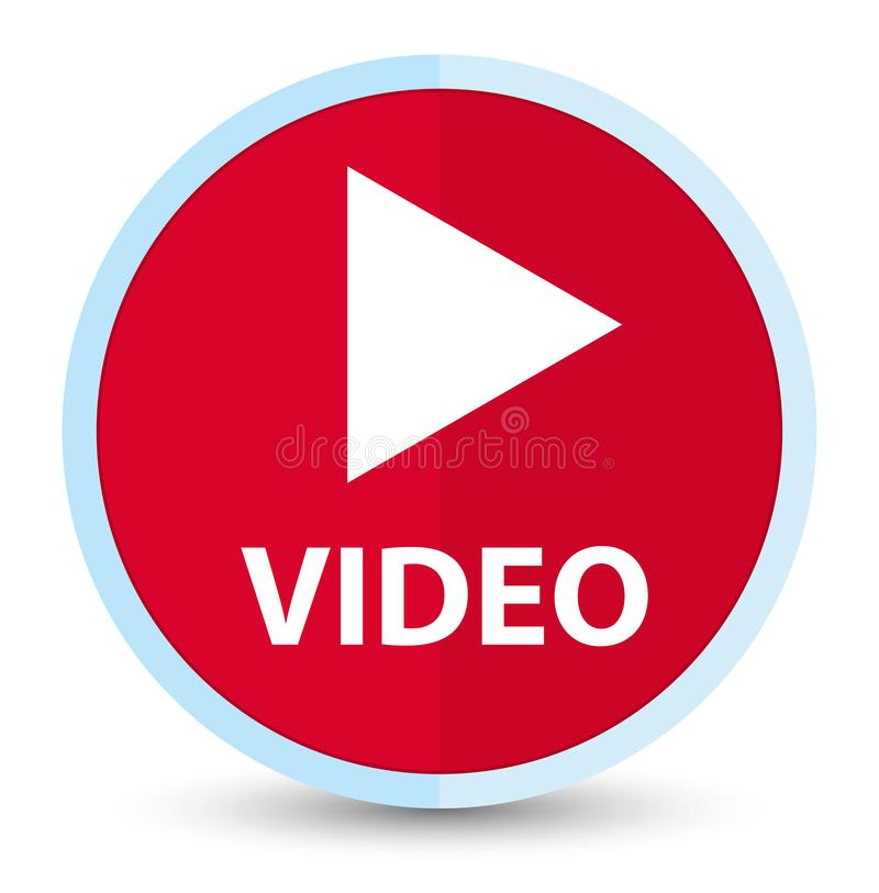 Video flat prime red round button. Video isolated on flat prime red round button abstract illustration vector illustration