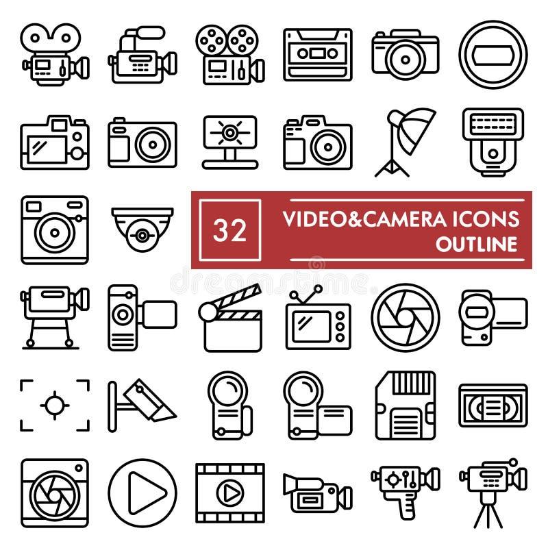 Video- Kameralinie Ikonensatz, Kamerasymbole Sammlung, Vektorskizzen, Logoillustrationen, lineare Piktogramme der Fotozeichen stock abbildung
