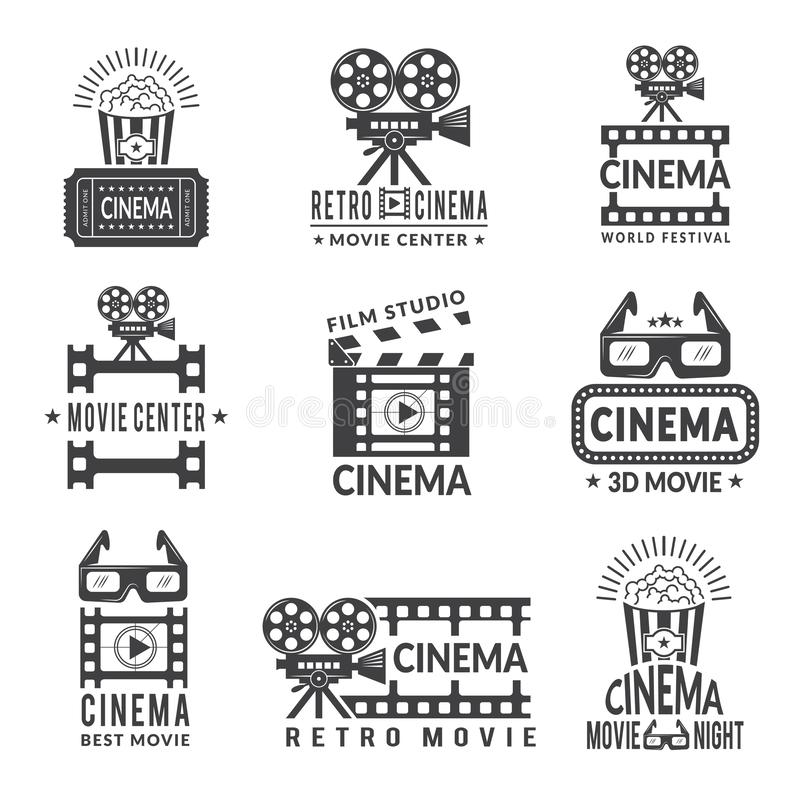 Video labels set. Cinema production badges in monochrome style. Cinema film center, movie and entertainment, production cinematography, vector illustration royalty free illustration