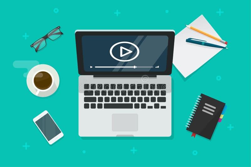 Video on laptop vector illustration, flat cartoon computer screen online webinar concept top view, idea of tutorial. Video on laptop vector illustration, flat royalty free illustration