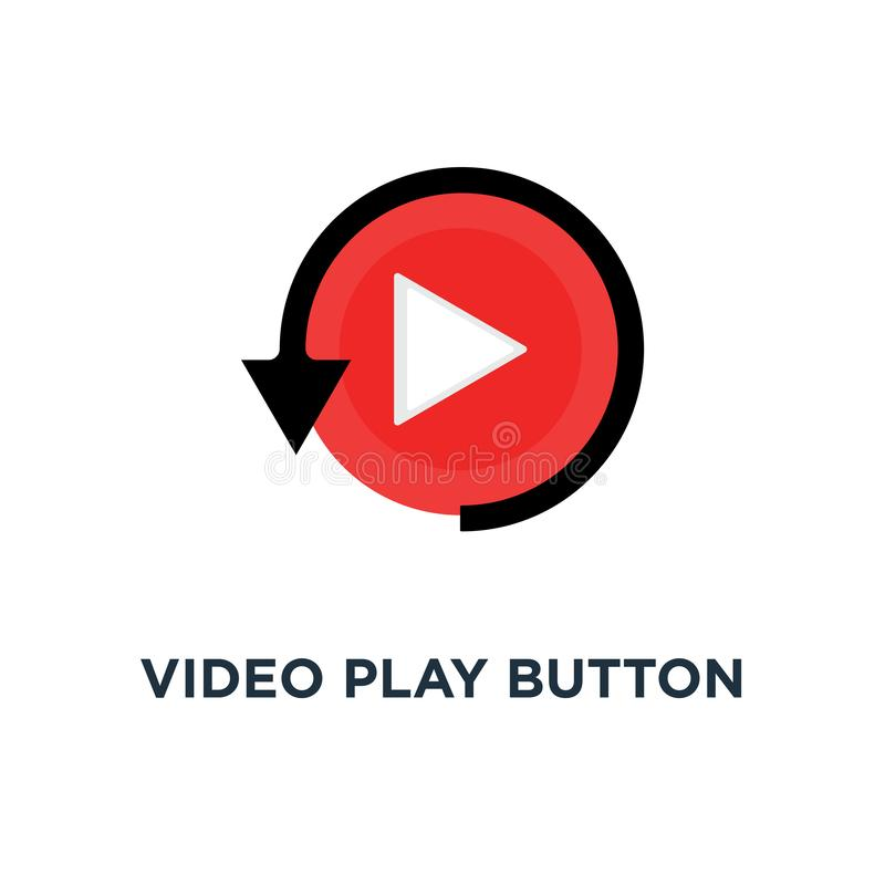 video lekknapp som den enkla omspelsymbolen, begrepp för grafisk design för logotyp för symbolstiltrend modernt rött av att hålla vektor illustrationer