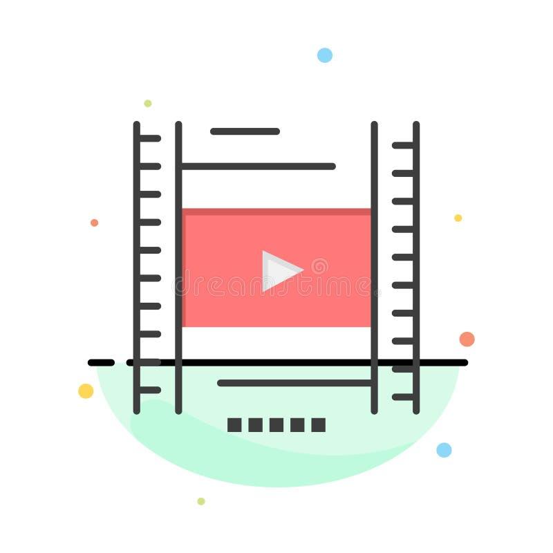 Video, Les, Film, het Pictogrammalplaatje van de Onderwijs Abstract Vlak Kleur stock illustratie