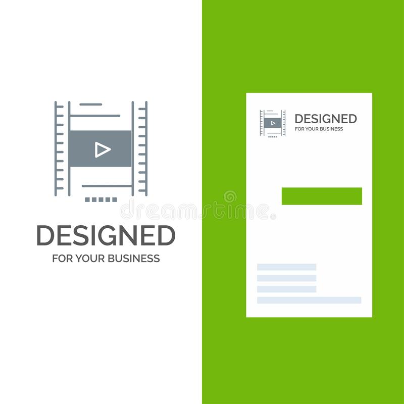 Video, Les, Film, Onderwijs Grey Logo Design en Visitekaartjemalplaatje stock illustratie