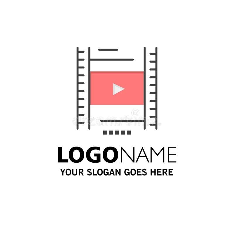 Video, Les, Film, Onderwijszaken Logo Template vlakke kleur royalty-vrije illustratie