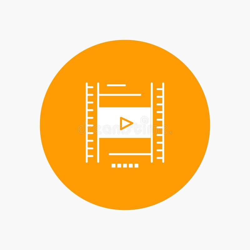 Video, Les, Film, pictogram van Onderwijs het witte glyph vector illustratie