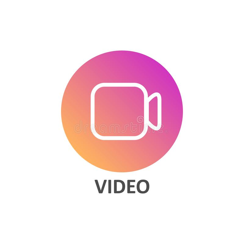 Video linear icon in gradient circle for social media stock illustration