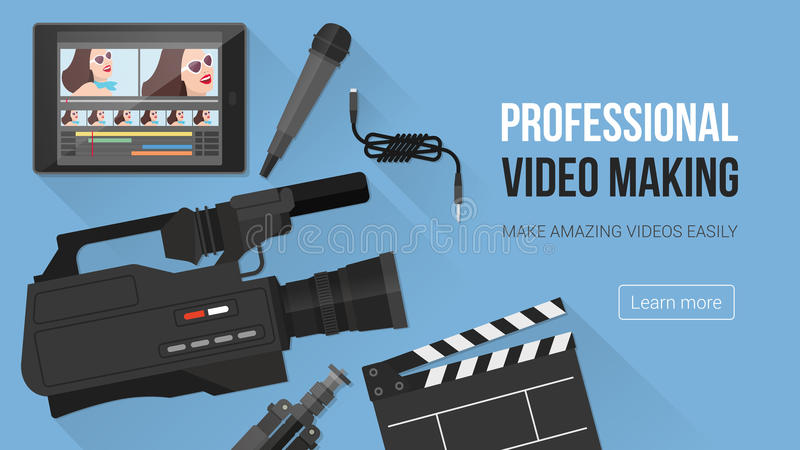 Video making banner. Video making, shooting and editing with professional equipment and video camera on a desk vector illustration