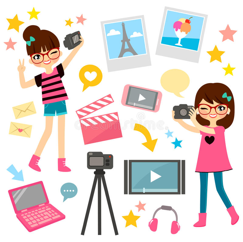 Video making. Young girls and items related to video blogging and film making vector illustration