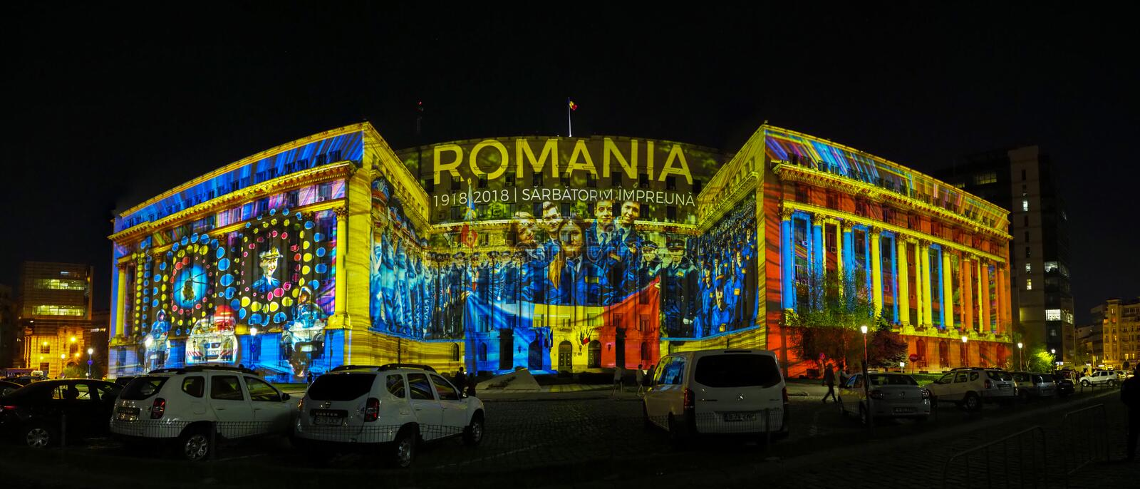Video mapping on the facade of the Ministry of Internal Affairs - Spotlight festival 2018, Bucharest, Romania. On its fourth edition, Spotlight Festival stock image