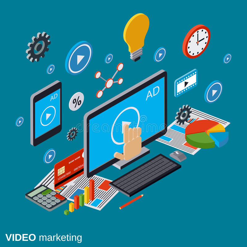 Video marketing, advertising, promotion vector concept stock illustration