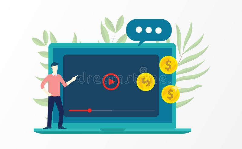 Video marketing with business man explain on front of laptop and money. Vector illustration stock illustration