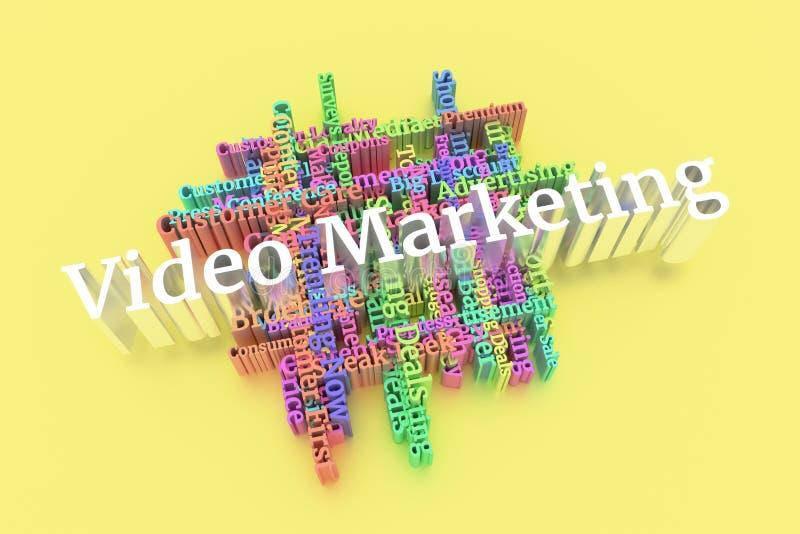 Video-marketing, cloud met trefwoorden voor zakelijk gebruik royalty-vrije illustratie