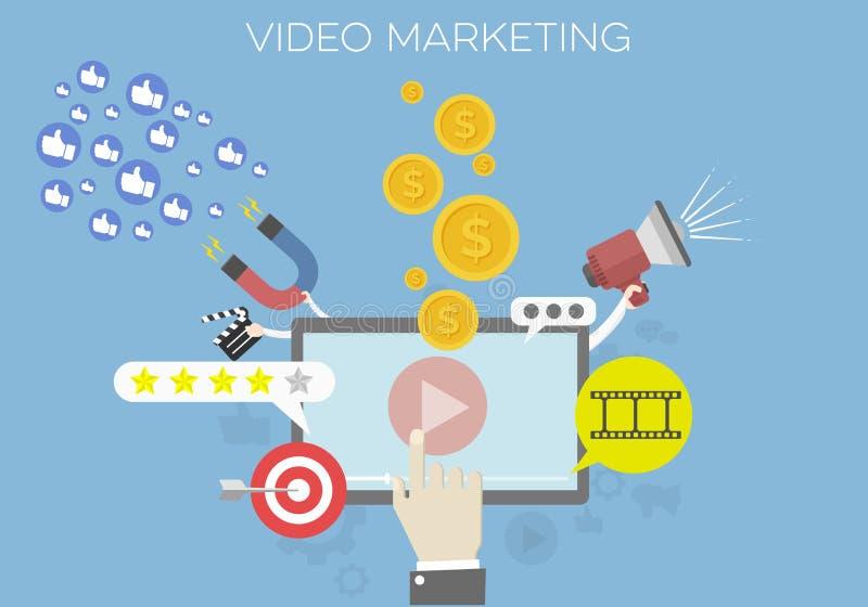 Video marketing concept royalty-vrije illustratie