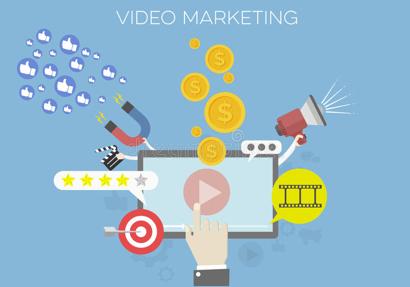 Video Marketing Concept royalty free illustration