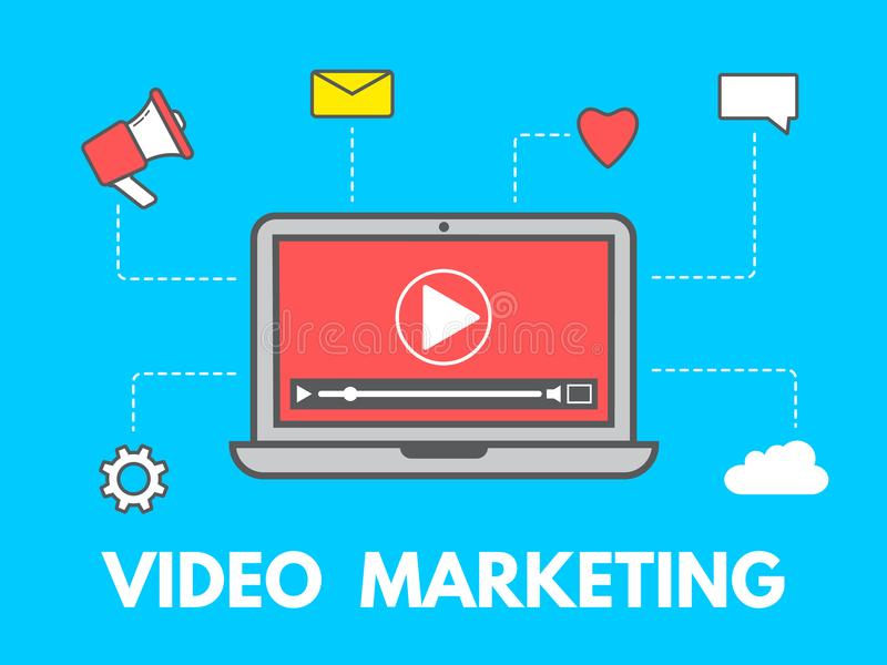 Video marketing concept. Laptop with business icons on blue background. Social network and media. Video content stock illustration