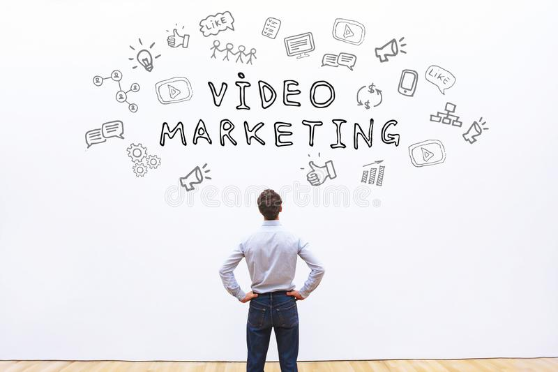 Video marketing. Concept, promotion online royalty free stock photography