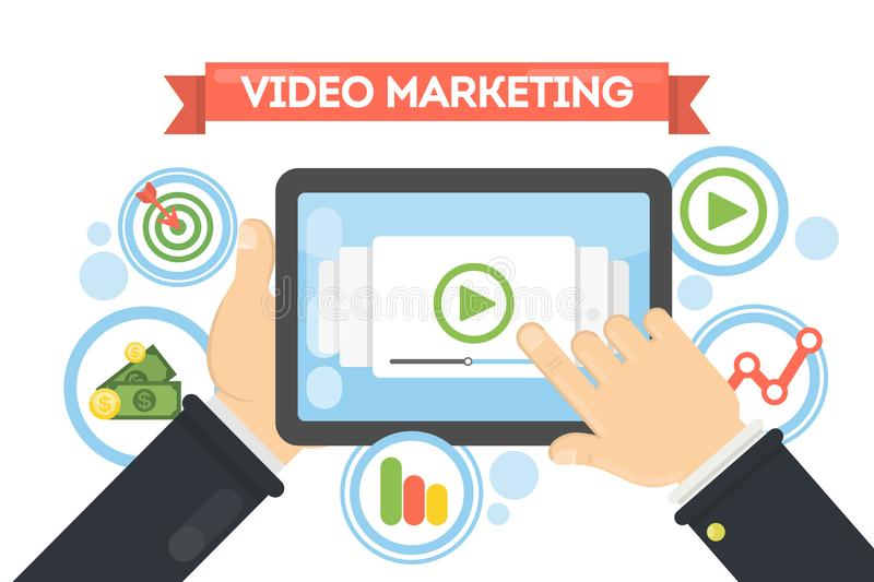 Video marketing concept. Video marketing concept illustration. Idea of online video business and advertising vector illustration