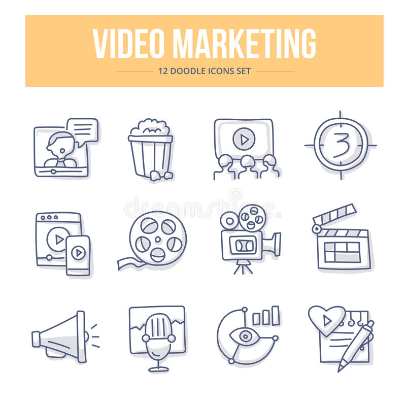 Video Marketing Doodle Icons royalty free illustration