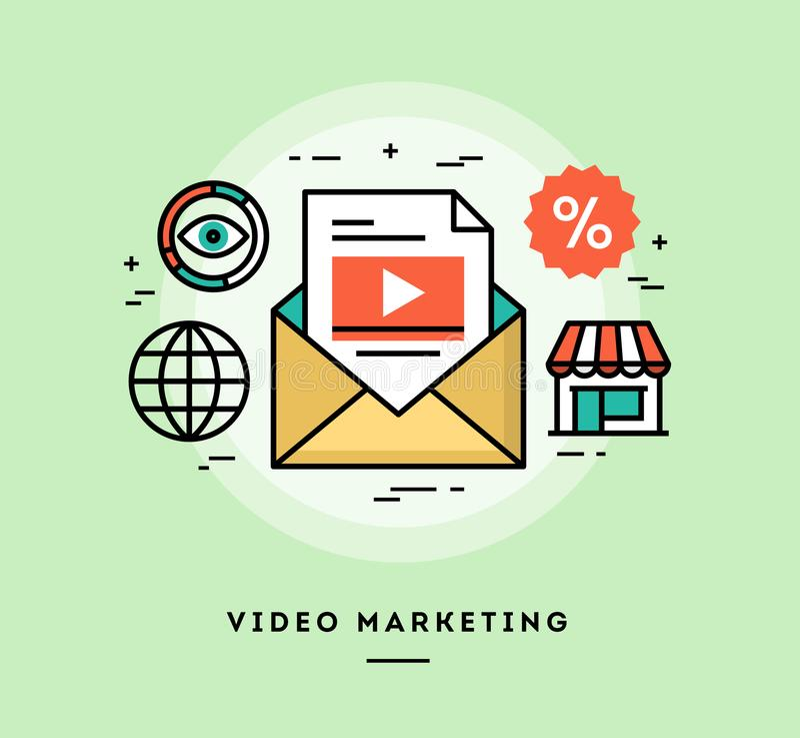 Video marketing, flat design thin line banner vector illustration