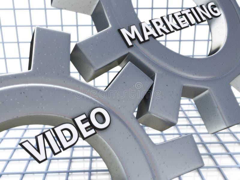 Video Marketing on the Mechanism of Metal Gears, 3D Render royalty free illustration