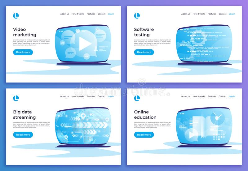 Video marketing, software het testen, het grote gegevens e-n stromen, online royalty-vrije illustratie
