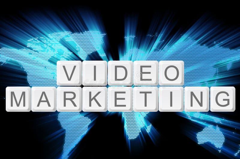 Video marketing toetsenbordknoop met wereldachtergrond royalty-vrije stock afbeeldingen