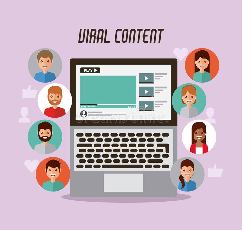 Video marketing viral content people views stock illustration