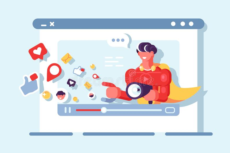 Video marknadsföra social nätverkskommunikation vektor illustrationer