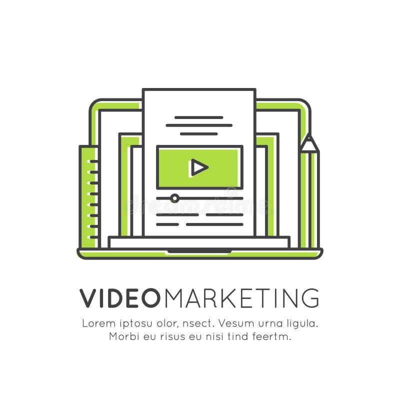 Video marknadsföring, meddelanden för internetmejl eller mobiloch erbjudandemarknadsföring och social aktion stock illustrationer