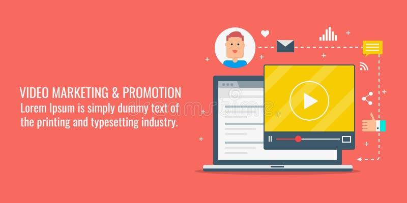 Video marknadsföring, online-video befordran, internetvideoinnehåll, digitalt massmedia som marknadsför begrepp Plan designvektor royaltyfri illustrationer