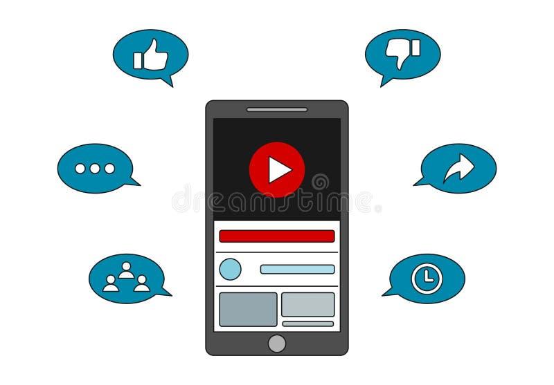 Video marknadsföring - Youtube koppling stock illustrationer